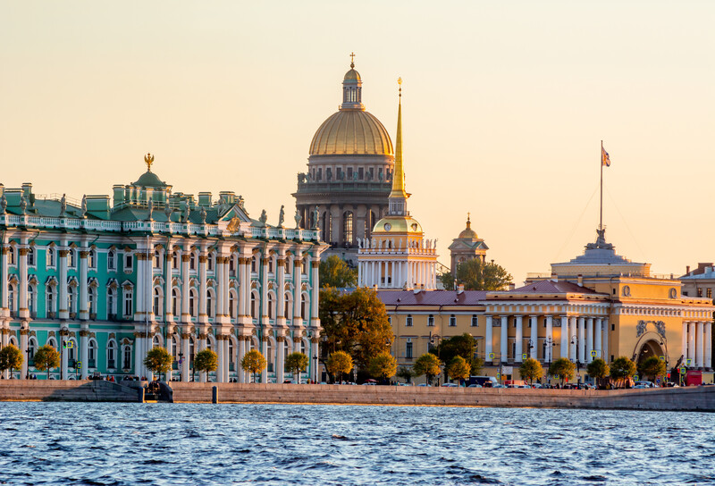 St. Petersburg cityscape with St. Isaac's Cathedral, Hermitage museum and Admiralty, Russia