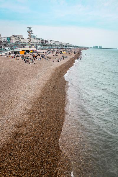 Busy Tourist Attractive Beaches In Brighton, UK