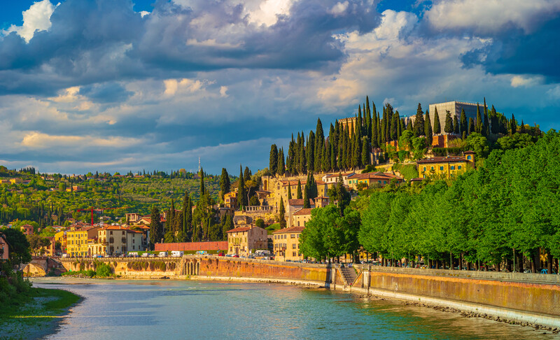 View of the castle of San Pietro in the city of Verona, Italy. The castle is on the top of the hill of San Pietro on the banks of the Adige River