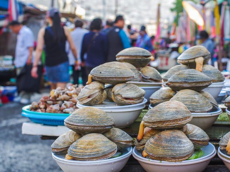 Jagalchi Market - fish market in Pusan (Busan), South Korea - amazing variety of fish, clams, etc..