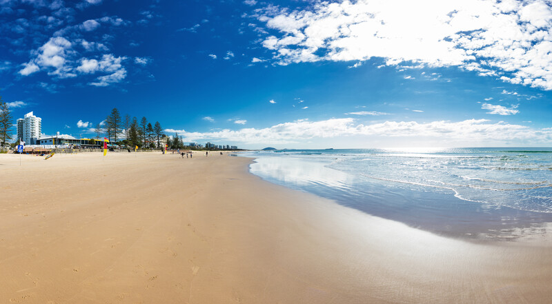 MOOLOOLABA, AUSTRALIA, JUL 22 2018: People enjoying summer at Mooloolaba beach - a famous tourist destination in Queensland, Australia.
