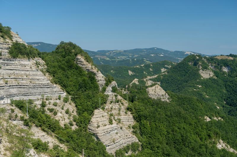 Summer landscape near the monastery of La Verna, Arezzo, Tuscany, Italy, in the Casentino park