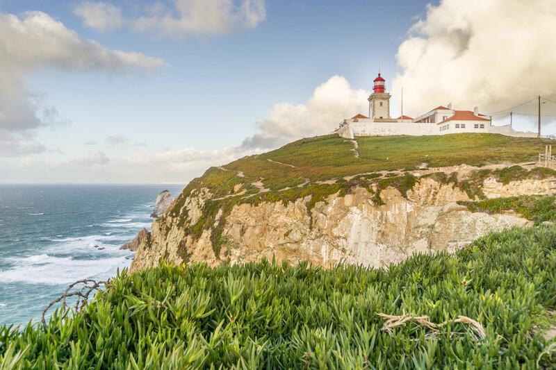 Lighthouse on the cliffs on Cape Roca - Cabo da Roca, Sintra - Cascais Natural Park, Portugal